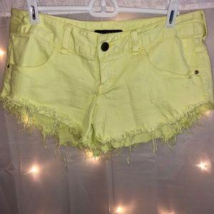 Billabong Neon Yellow Denim Shorts
